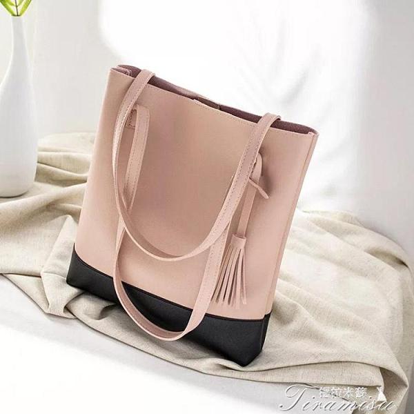 托特包 大包包女新款時尚拼色大容量手提單肩包百搭托特包韓版流浪包 快速出貨