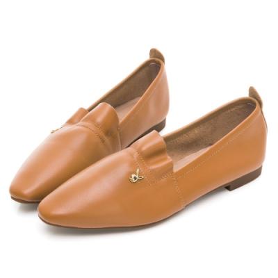 PLAYBOY 法式氣質 真皮小香風娃娃鞋-棕-Y6786H4