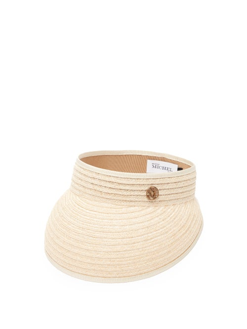 Maison Michel - Patty Logo-plaque Hemp-straw Visor - Womens - Beige