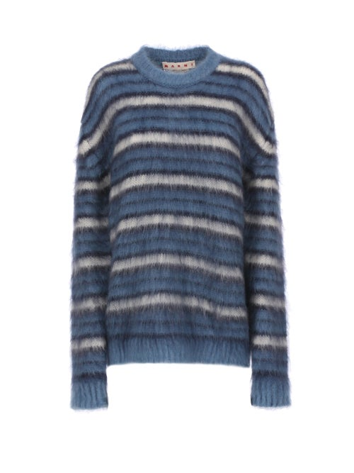 Marni - Striped Wool-blend Sweater - Womens - Blue Stripe