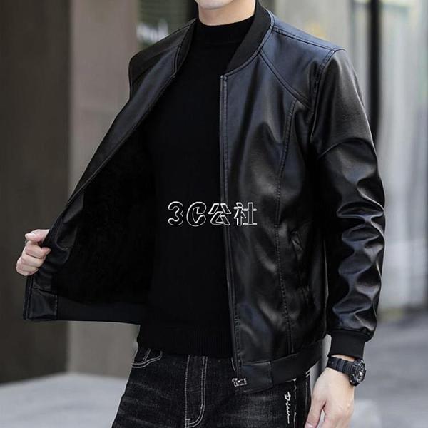 新款冬季皮衣外套男加絨加厚上衣韓版修身PU皮夾克男裝機車服快速出貨