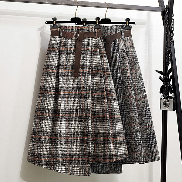 大尺碼半身裙L-4XL2020秋冬新款胖MM格紋毛呢顯瘦遮肚半身裙5F037.7265胖丫