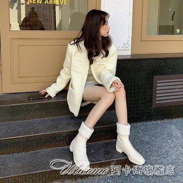 靴子羊毛羔瘦瘦靴2020新款網紅后拉鏈加絨保暖時尚休閒靴子女中筒靴冬17 阿卡娜