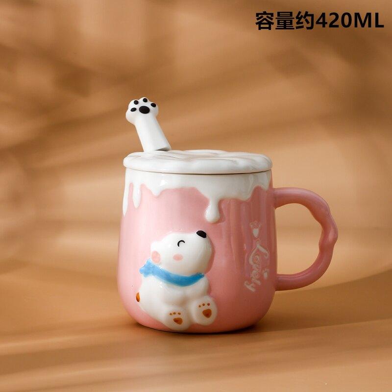 馬克杯禮盒 可愛貓咪馬克杯卡通陶瓷杯子情侶男女水杯咖啡杯帶蓋勺早餐牛奶杯『CM39998』
