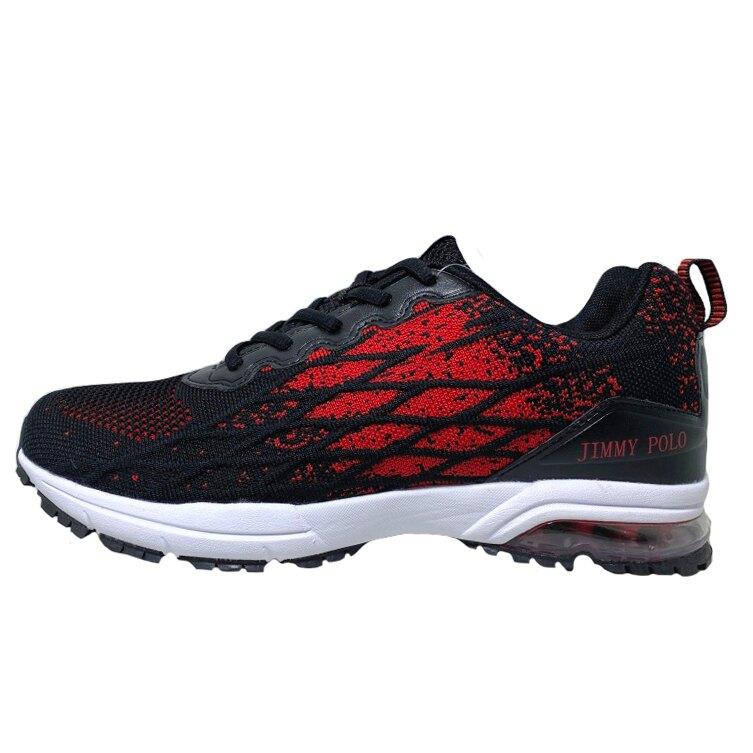 【新春回饋↘滿$1300折$100】男款無接縫編織輕量氣墊運動鞋 [68096] 黑紅【巷子屋】