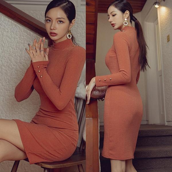 OL洋裝.禮服裙7604#冬季新款韓版休閑氣質中長款立領修身針織打底裙連身裙NE49快時尚