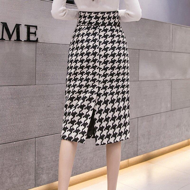 2019秋冬新款韓版雙口袋千鳥格毛呢半身裙女高腰顯瘦A字裙包臀裙1入