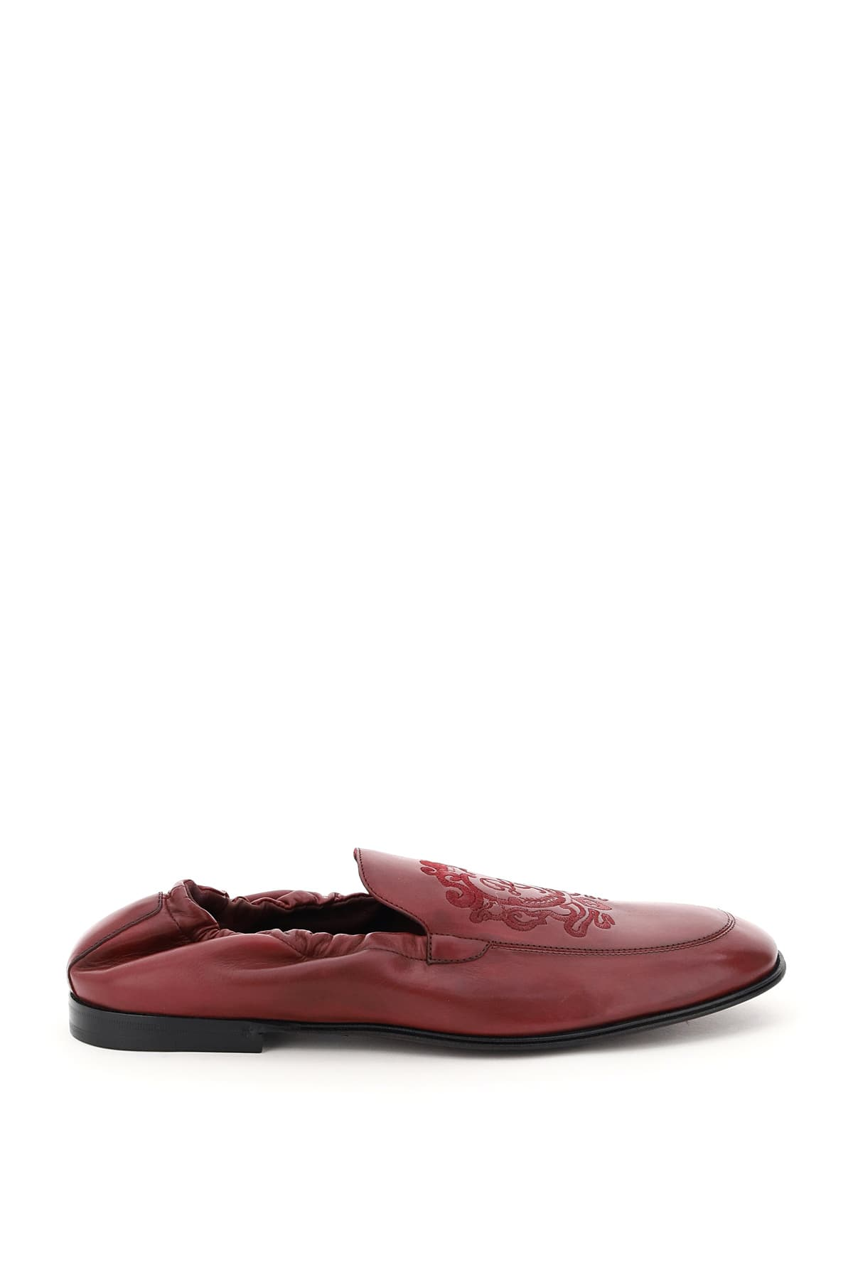 DOLCE & GABBANA ARIOSTO LOAFERS WITH COAT OF ARMS EMBROIDERY 40 Purple, Red Leather