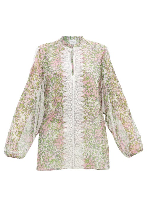 Giambattista Valli - Lace-trimmed Microfloral-print Silk Blouse - Womens - Multi