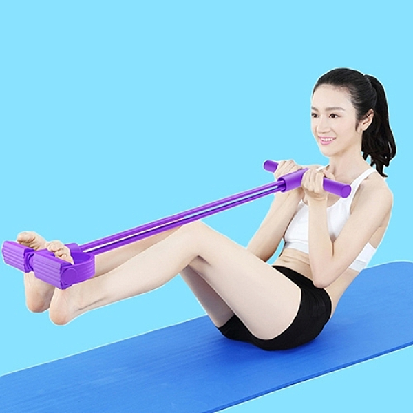 四管腳蹬拉力器 健身器 仰臥起坐收腹健腹器 腳踏拉力繩 (顏色隨機出貨)