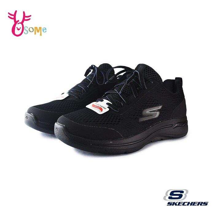 Skechers運動鞋 男鞋 GO WALK ARCH FIT 足弓支撐跑鞋 耐磨底 慢跑鞋 足弓鞋墊 針織網布 U8290#黑色◆奧森