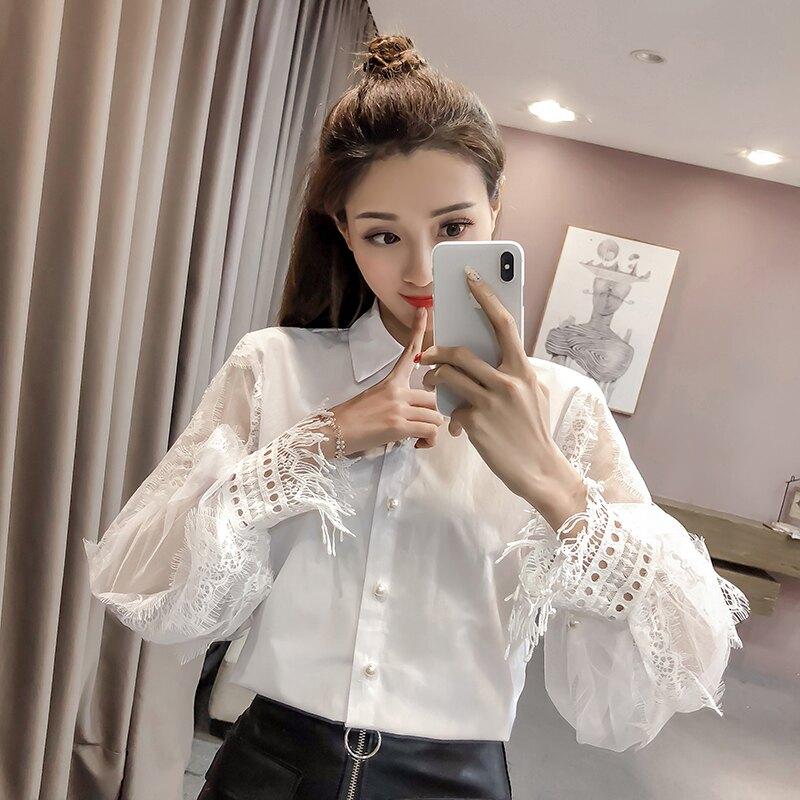 2020春裝女裝新款polo領蕾絲襯衫女設計感小眾拼接燈籠袖長袖上衣1入