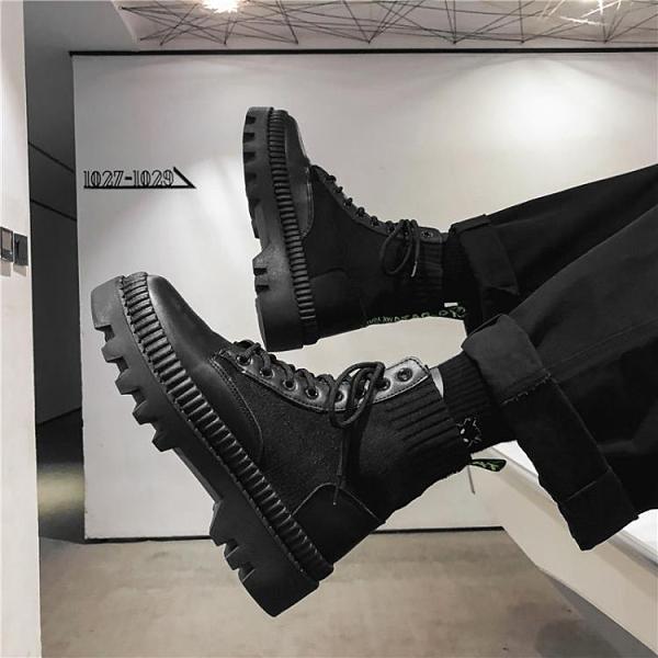 皮靴男鞋馬丁靴增高幫英倫風工裝皮鞋潮中幫鞋子