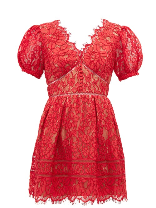 Self-portrait - Puffed-sleeve Guipure-lace Mini Dress - Womens - Red