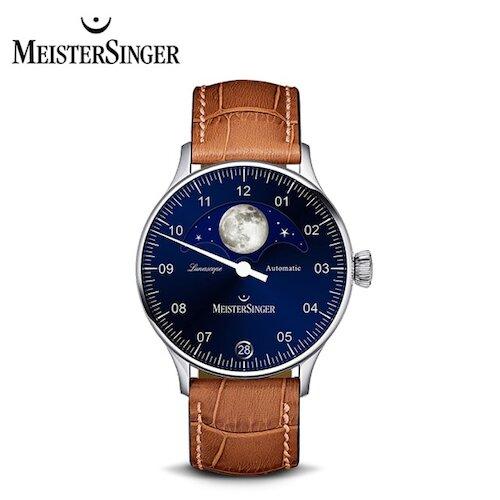 【MeisterSinger 明斯特單指針】LS908 月相 暮夜藍 自動上鍊 40mm(月相錶 機械錶 德國錶)
