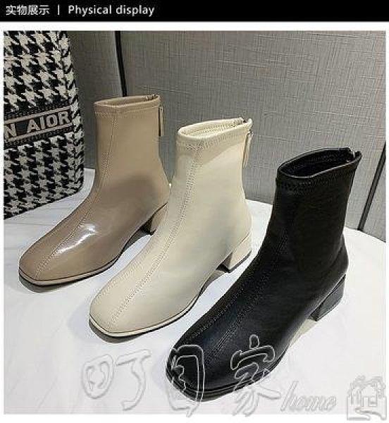 高跟靴方頭高跟短靴女2020年新款英倫風韓版粗跟瘦瘦靴子馬丁靴時尚機車 町目家