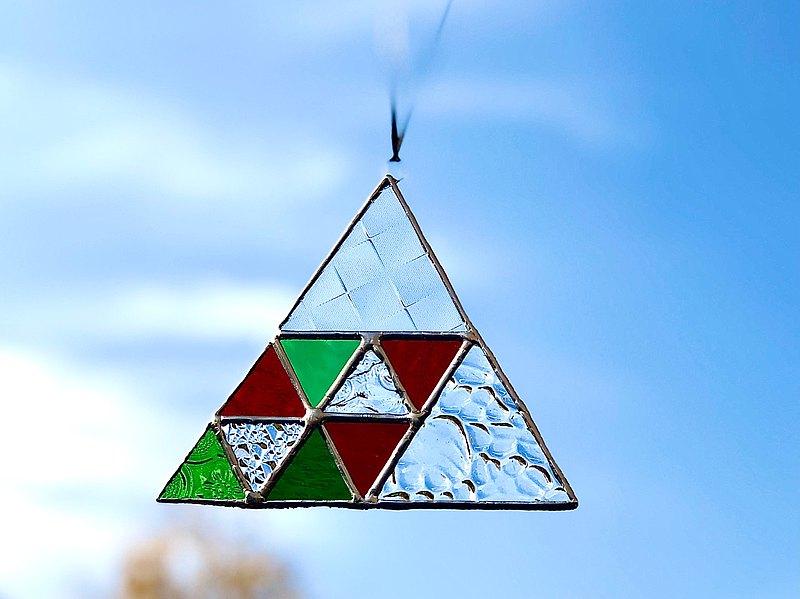 彩色玻璃太陽捕手Triangle2清除綠色紅色