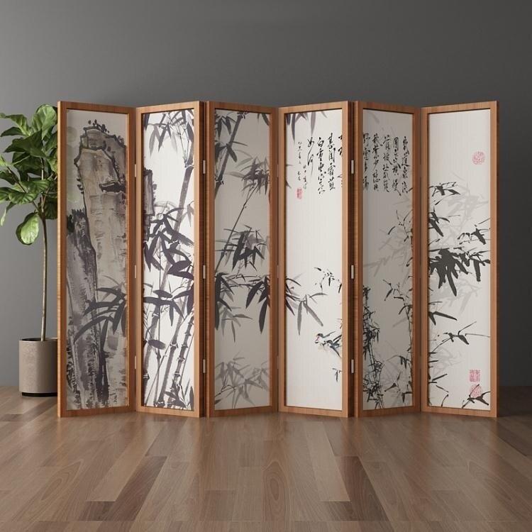 屏風隔斷客廳摺疊行動簡約現代實木簡易酒店裝飾新中式辦公室折屏