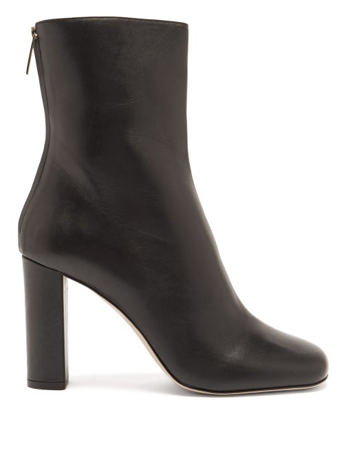 Paris Texas - Square-toe Leather Ankle Boots - Womens - Black