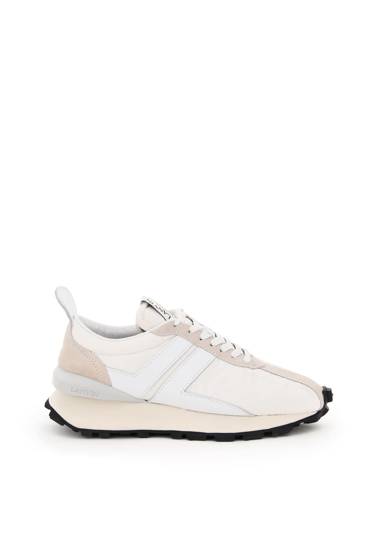 LANVIN BUMPER SNEAKERS 40 White, Beige, Grey Leather, Technical