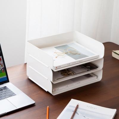 [芬菲文創]日系極簡ABS材質可疊加A4加大收納盒 辦公室文件整理櫃-2入