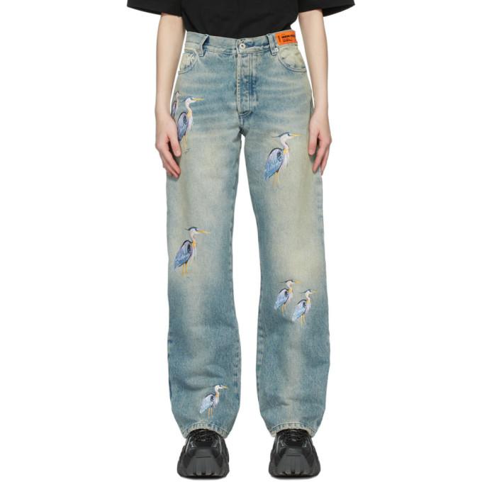 Heron Preston 蓝色 Regular 刺绣牛仔裤