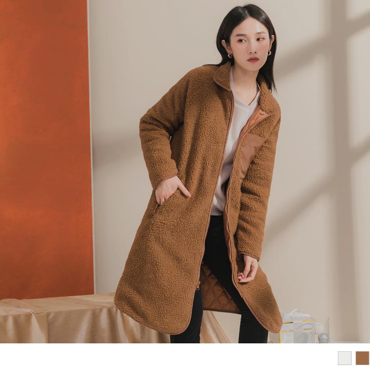 絨毛異材質拼色質感大衣外套