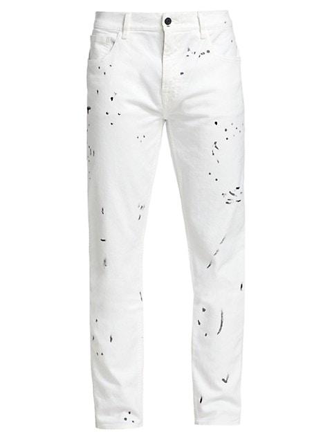Paxtyn Slim-Fit Paint Splatter Jeans