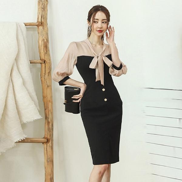OL洋裝.禮服裙5379#冬新款系帶長袖收腰顯瘦拼接蝴蝶結連身裙NA71快時尚