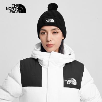 The North Face北面男女款黑色舒適保暖毛球針織帽|3FN3JK3