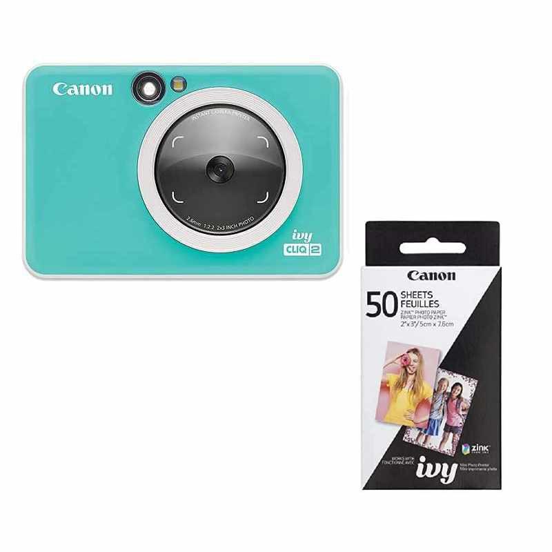 Canon IVY CLIQ 2相片印表機 50張相片貼紙 Instant Camera Printer 深灰/綠/粉