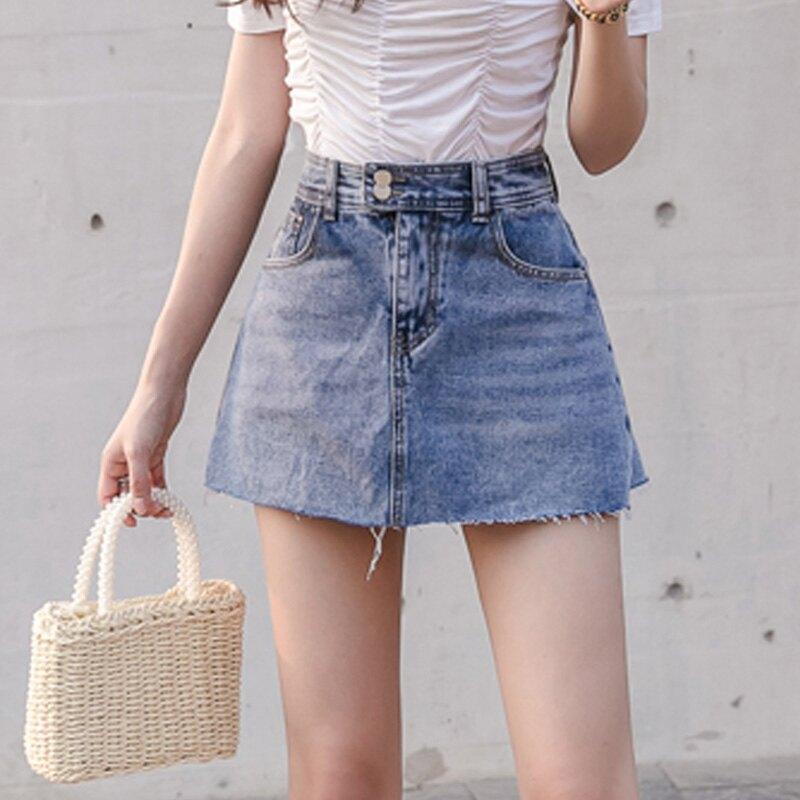 高腰牛仔半身裙女2020春裝新款韓版防走光a字短裙修身顯瘦包臀裙1入