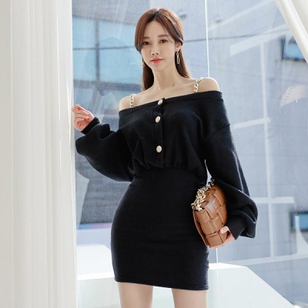 OL洋裝.禮服裙5515#韓版冬款性感裸肩吊帶掛袖修身包臀連身裙NA71快時尚