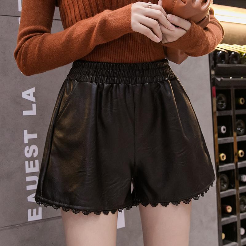 PU皮短褲女2019秋裝新款松緊高腰寬松顯瘦花邊闊腿褲外穿休閑靴褲1入