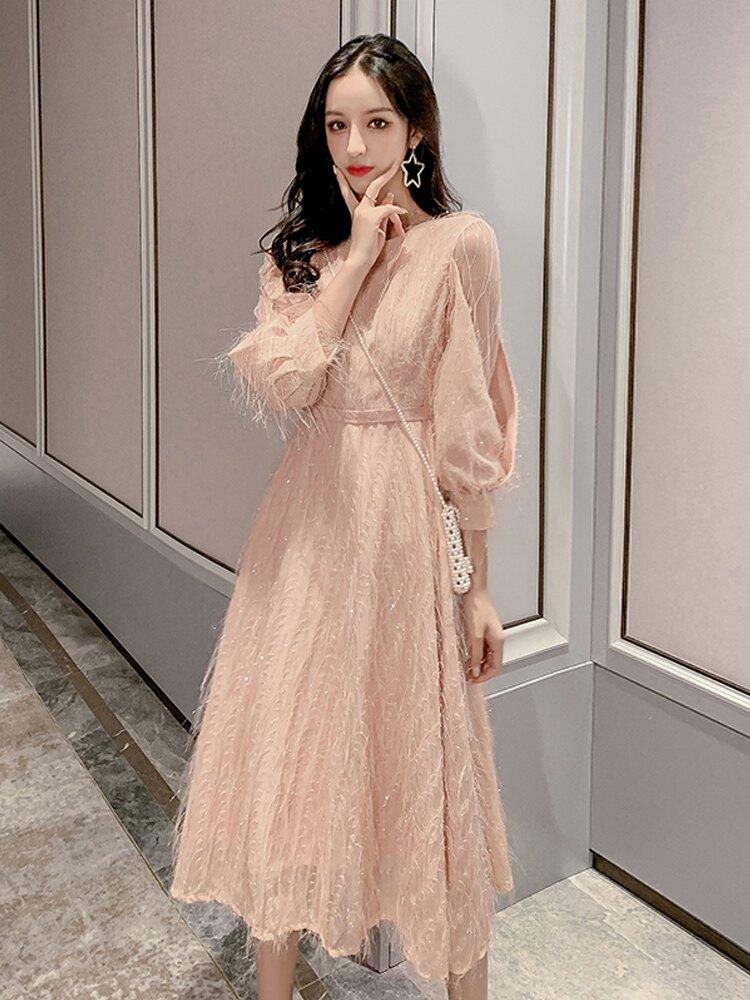 初秋冬季連衣裙洋氣女裝2019年新款潮套裝裙子155小個子冬裙時尚1入