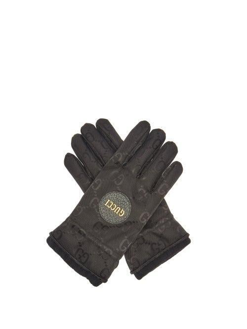 Gucci - GG Ribbed-knit Trim Ski Gloves - Mens - Black