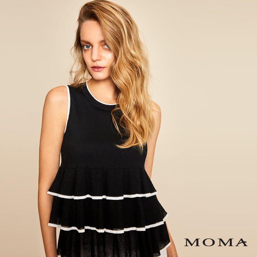 MOMA(01KM18)蛋糕荷葉針織上衣