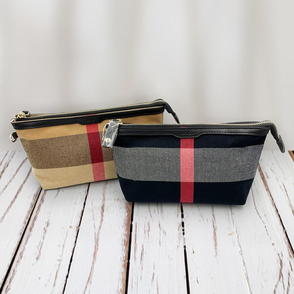 經典格紋拼牛皮帆船化妝包 手拿包(2色)