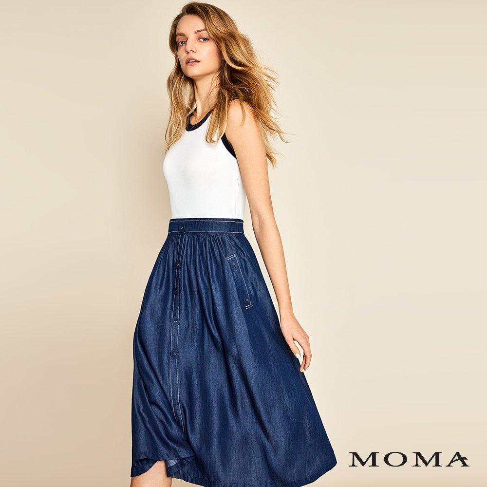 MOMA(01KD01)牛仔拼接針織洋裝