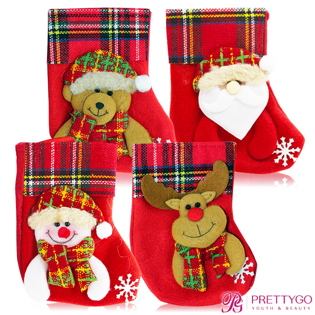 O'Pretty 歐沛媞 玩偶造型聖誕襪-格子 多款任選(12.5x16cm)-耶誕佈置交換禮物【美麗購】