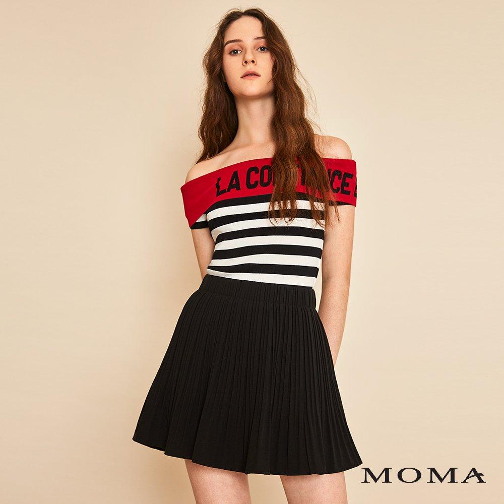 MOMA(01S010)單色壓褶短裙-剩餘34號