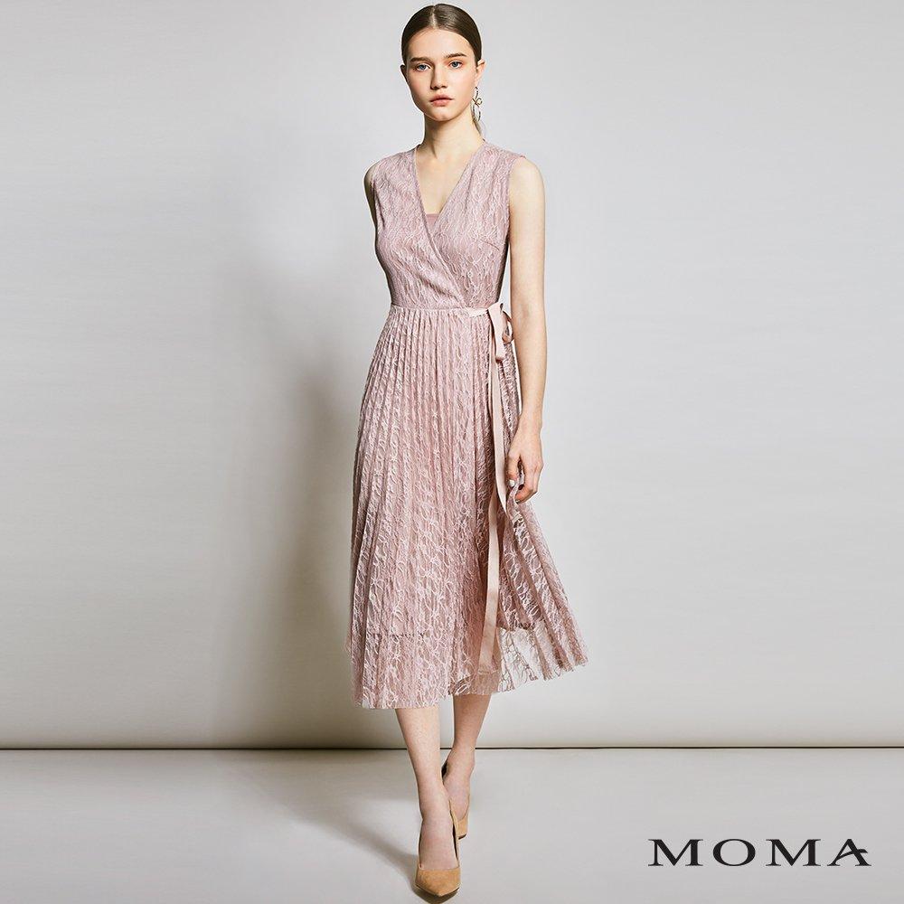 MOMA(01D031)蕾絲壓褶交疊洋裝