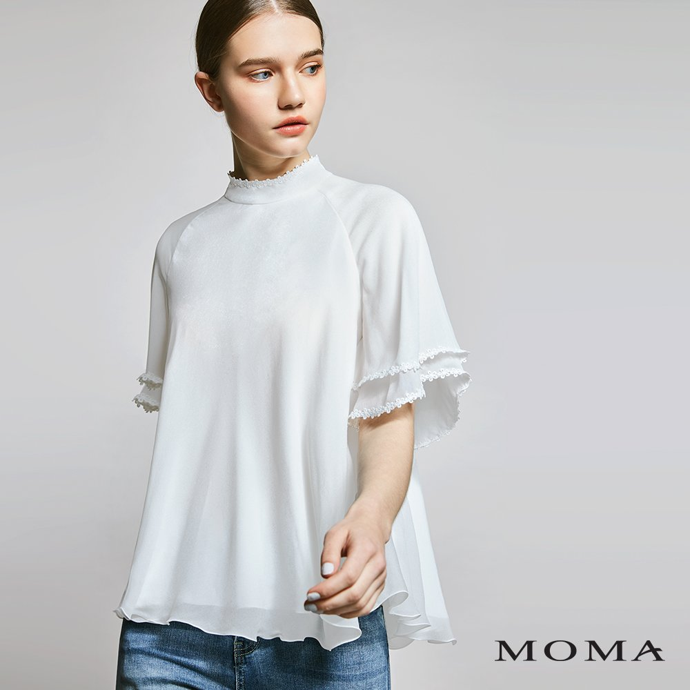 MOMA(01G045)蕾絲細節傘狀上衣