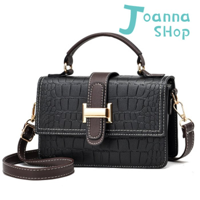 新黑FASHION石紋高質感手提斜背包1-Joanna Shop