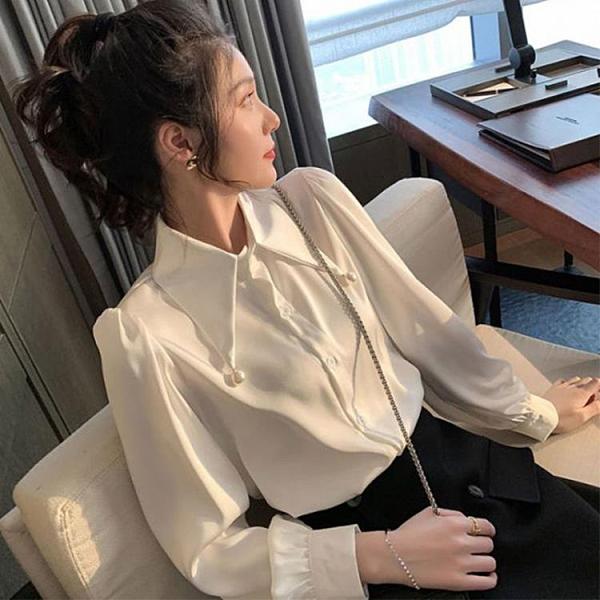 設計感小眾白襯衫女春秋新款洋氣時尚雪紡衫內搭上《蓓娜衣都》