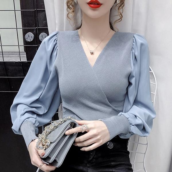 年底促銷 早秋新款V領拼接雪紡袖修身顯瘦氣質長袖套頭針織打底衫上衣