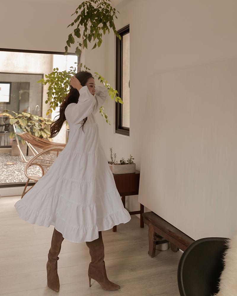 多層次設計傘襬洋裝-Mercci22