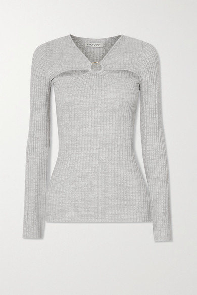 ANNA QUAN - Laila 挖剪带缀饰罗纹纯棉平纹布上衣 - 灰色 - UK10
