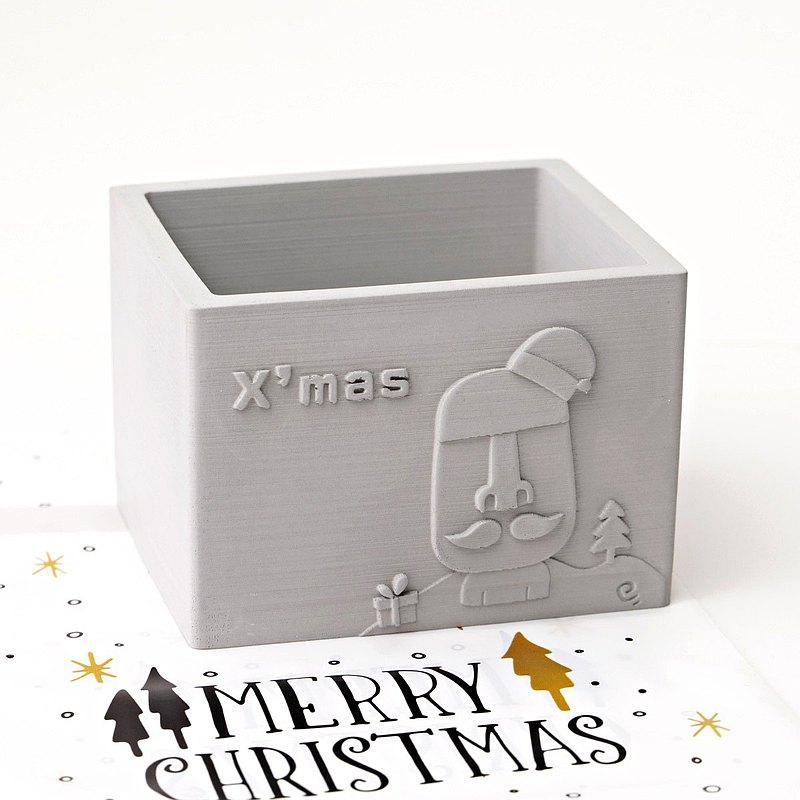 多肉水泥盆栽   摩艾聖誕老公公   聖誕節交換禮物首選