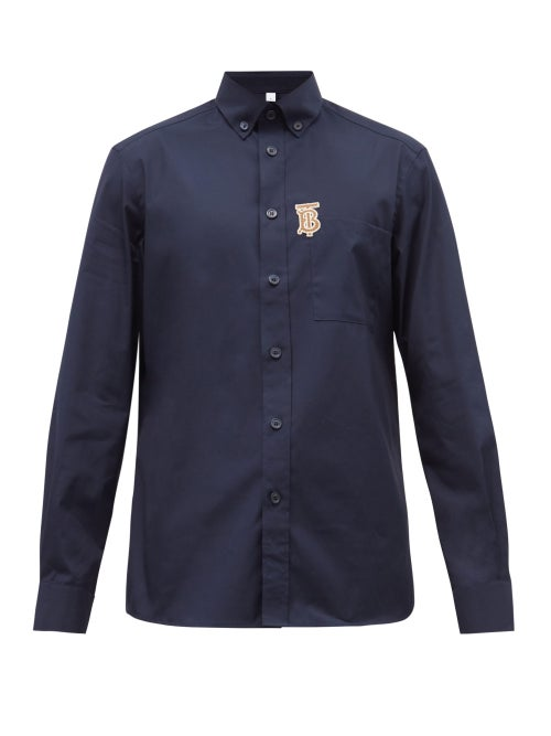 Burberry - Tb-embroidered Cotton-blend Shirt - Mens - Navy